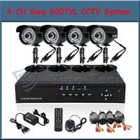 Wholesale 4 CH CCTV Security DVR System SONY TVL LED IR CCTV Cameras ch Kit for DIY CCTV Systems