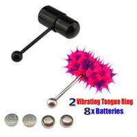 Tongue tongue ring+betteries  Wholesale 2 Vibrating Tongue Bar Ring Koosh Ball + 8Free Batteries for Body Jewelry Piercing 2-5
