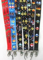 Wholesale 100Pcs Super Mario bros Mobile Phone Lanyard Key Card ID NECK STRAP Party Best Gift