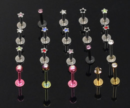 Wholesale Titanium Anodized Jewelled Lip Rings Labret Rings Body PIercing Jewelry