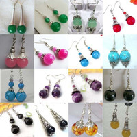 Red blue jade earrings - 32pcs pair beautiful Tibet silver jade earrings Multicolor earrings