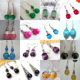 32pcs 16pair beautiful Tibet silver jade earrings   Multicolor earrings
