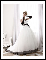 Wholesale 2012 Dreamlike Classic White Ball Gown Wedding Dresses Sweetheart Sleeveless with Black Sash HS100