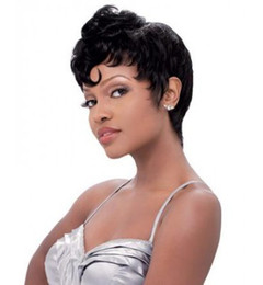 Top Qualiity 10 inches Long Curly Rihanna Hair Style Black Full Wig Synthetic Hair Wig Woman Wigs African American Wig