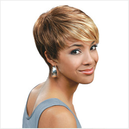 Shipping in 24 Hours Fashion Short Straight Colorful Blonde&Brown Synthetic Wig Fulll Wigs Top Quality Wigs