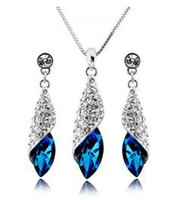 Wholesale New design peacock blue Austrian crystal necklace earring set elegant high quality