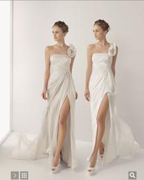 Wholesale New Stylish Design Beach Wedding Dresses Sexy Split Front One Shoulder Bridal Dresses Wedding dress