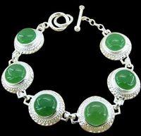 Wholesale 8p Sterling Silver Natual Green Jadeite Jade Bridal Wedding Bracelet Chain Link Charm Jewelry