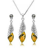 Wholesale New design yellow Austrian crystal necklace earring set elegant high quality