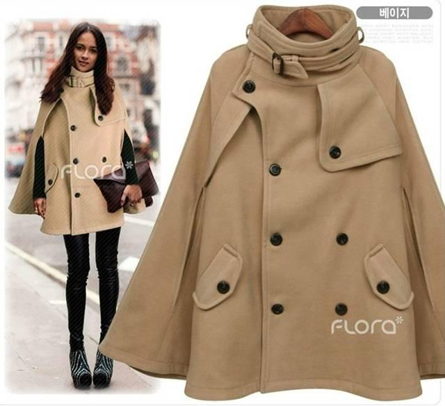 Womens Coats Poncho Clothing Double-breasted Wool Coats Outerwear