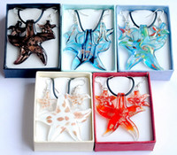 Wholesale Star Murano Lampwork Glass Necklace Pendant and Earrings Jewelry set W14560Y66