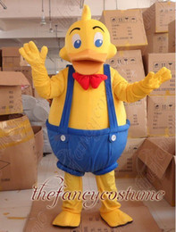 Wholesale adult size yellow duck wearing blue braces with his trousers mascot costume party outfit