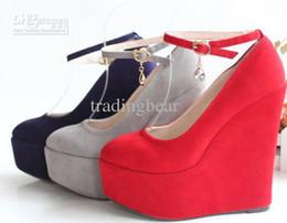 Wholesale Strap Heels Women - size 30 31 32 size 40 41 42 43 HOT 4 colors ankle strap 5.5CM high platform 15CM wedges heel shoes