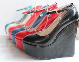 Wholesale 2013 candy colors women s bride shoes ankle strap CM high platform wedges heel shoes