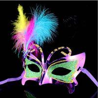 Wholesale 20pcs Plastic Feather Masks Masquerade Masks Carnival Masks Mardi Gras Masks Venetian party Masks butterfly mask