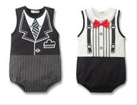baby sham - Baby Romper boys girl s Infant Wear Gentleman sham tie red bow tie shape Rompers baby clothing