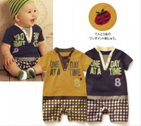 baby boy stores - Baby Romper Boy s V Neck Letter leisure Rompers Only Yellow in stock baby s cheap wears store