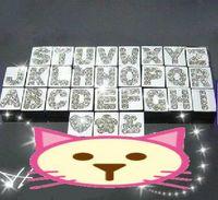 Wholesale 130pcs mm A Z Quadrate Slide letters with Rhinestones DIY Accessories Fit Pet Collar
