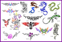 Christmas airbrush tattoo book - 2012 lastest new fashion Hot unit golden phoenix temporary AIRBRUSH TATTOO STENCIL BOOK pics
