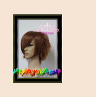 Wholesale Walnut brown shaggy layered short straight costume cos wig Synthetic Hair cosplay real hair wig