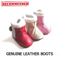 Wholesale Genuine leather Baby soft sole shoes boots with fur lining winter SHEEPSKIN shoes bootie boots style