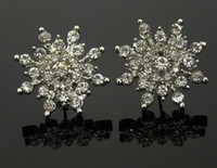Wholesale Snowflake Flower Ear Stud Earring Crystal Charming Silver Plated Clear Rhinestone Hot Sale As Gift