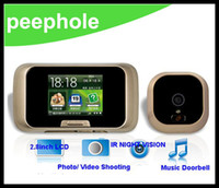 Wholesale 2 quot LCD Digital Door Peephole Viewer Video NightVision Doorbell Security Camera Auto Shooting