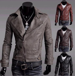 Wholesale 2012 Korean men s diagonal zipper suit collar men s leather motorcycle jacket