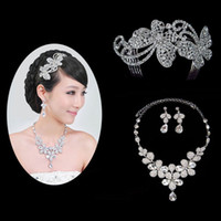 Wholesale 2012 hot sale elegant graceful bridal jewelry sets diamond necklace earrings hair pins J186
