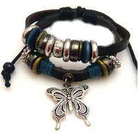 Alloy beaded butterfly bracelet - Handmade beaded Butterfly Love bracelet leather woven bracelets jewelry