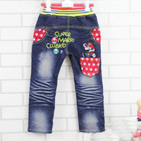 Wholesale 2016 The last big promotion Christmas Hot sale Fashion Cartoon Children s pants Kids Jeans Super Mario Jeans Kids Jeans Children Jeans