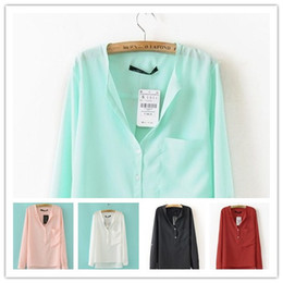 Wholesale 2012 new chiffon long steeve blouse solid color lepel loose colorful lady women blouses color