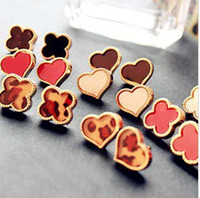 Wholesale Classical fashion Four Leaf Clover peach heart earring charming elegant ear hammer