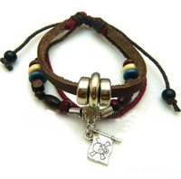 beaded banner - Fashion jewelry skull bracelet Devil banner beads leather bracelets sytle pc