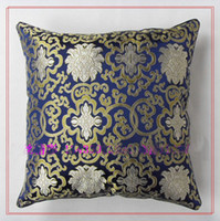 Wholesale Chair Cushion Covers Blue High quality Silk Double Surface Flower Patterns pack Free