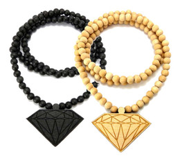 "10PCS Good Quality Hip Hop Wood DIAMOND PENDANT NECKLACE w  36"" Wooden BALL CHAIN"