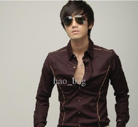 Men Cotton Long Sleeve Free Shipping Men shirts Silk Satin Roll Edge men's shirts men shirts fashion long-sleeved shirt 118