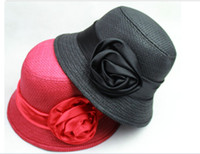 Wholesale Top hat Fashion ladies hats fedora hat that goes with formal dress homburg rose hats straw hats