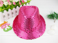 Wholesale 2012 fashionHot pink sequin hats fedora hats children s sequin caps colors available