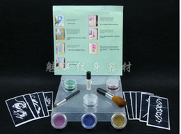 Wholesale Glitter Tattoo Kit colors with brushes glue stencil supply glitter kit Tattoo Stencils