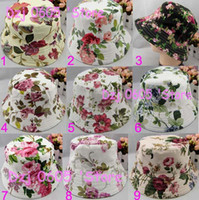 As the picture Bucket hat Woman Free shipping 30pcs lot New floral style women bucket sun hat ladies' fashion hat (MZ-10)