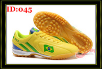 Wholesale Mens Soccer Shoes PVC Turf TF Indoor Boots Yellow Brazil Football Sports Cleats Shoe Boot Athletic
