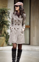 Wholesale 2012 New Fashion Women s Slim Fit Trench Coat Double breasted Coat Long Outwear