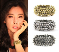 Wholesale Rivet Shape Stretch Bracelet Hot Gothic Punk Rock Ladies Studs Spike Bronze Silver Gunblack