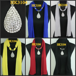 Wholesale diamond water drop pendant jewelry necklaces scarf jewellery scarves fringe DHL EMS