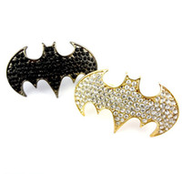 Wholesale Gun Black Gold Bat Ring Cool Rock Punk Gothic Color Rhinestone Two Fingers Double Ring
