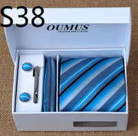 Wholesale 1Set New Classic Yarn Dyed Woven Silk Men s Tie Necktie Set Tie Hanky Cufflinks Tie Clips