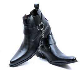 Free shipping,Men's High-Top Leather Shoes Ankle Boots,Cool Outdoor Leather Punk Buckles Chain Slip-On Cowboy Boots,US Size 6.5-10