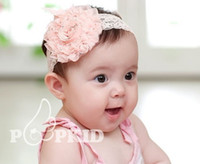 big cpam - 10pcs baby Headbands hairband headwear big pink rose flowers elastic white chiffon headband CPAM