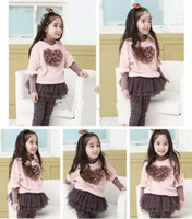 boutique clothes - 2012 hot sale childrens boutique clothes set baby girl long sleeve love heart T shirts Skirts